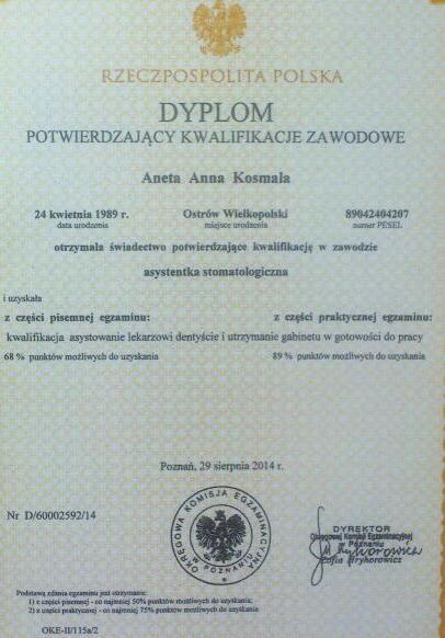 Dyplom potwierdzający kwalifikacje zawodowe - Aneta Anna Kosmala