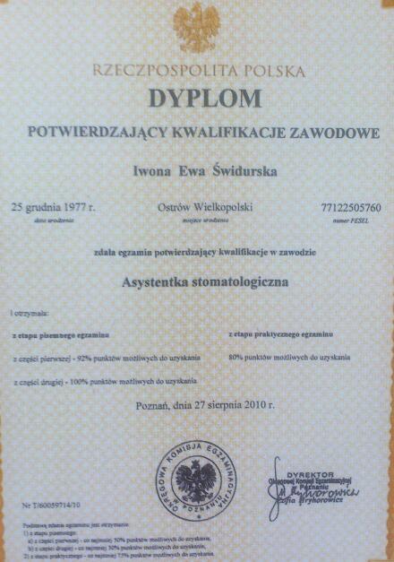 Dyplom potwierdzający kwalifikacje zawodowe - Iwona Ewa Świdurska